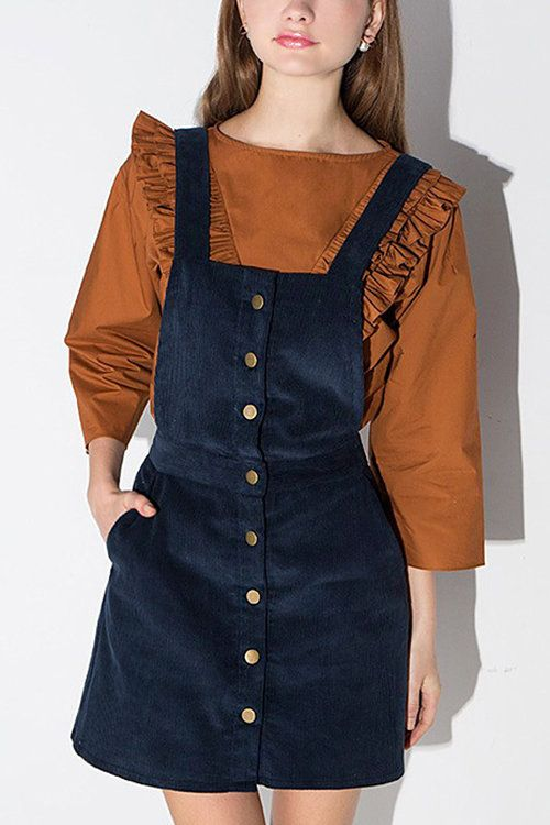 15078a6cd4 Suspender Button Front A-line Skirt