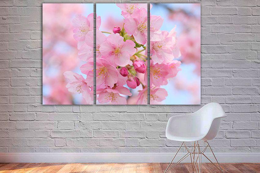 Cherry Blossom Sakura Canvas Cherry Wall Art Nature Decor Pink Etsy Flower Wall Art Nature Wall Art Blossom Trees