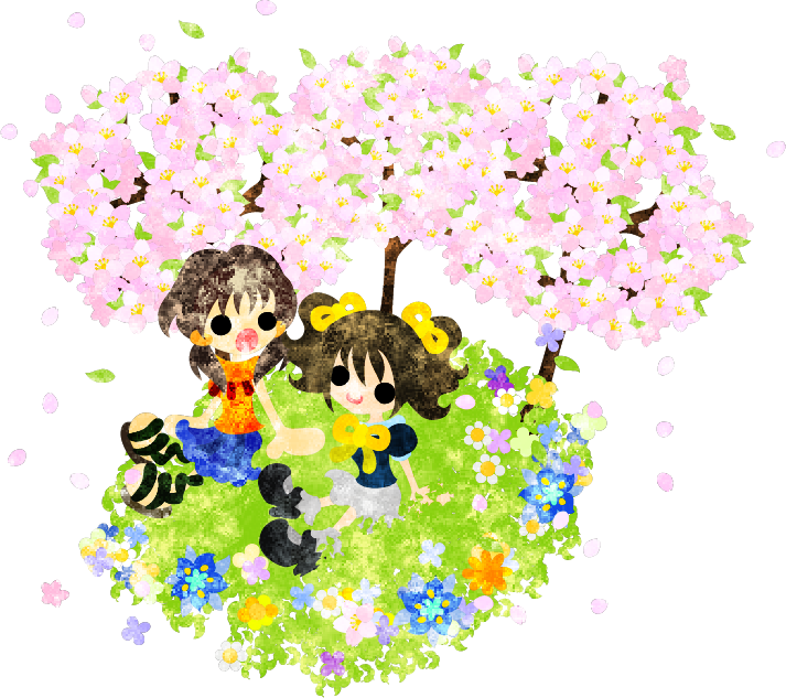"""春のフリーのイラスト素材桜や野の花が咲き誇る場所でおしゃべりする少女たち  Free Illustration of spring Girls talking at the place where the flower of a cherry tree and the field is in full glory"""""""