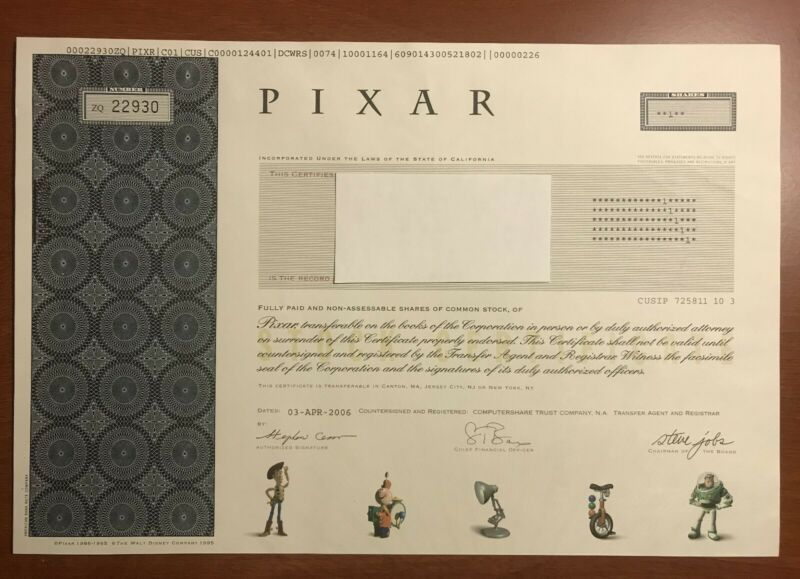 Disney Pixar Toy Story Stock Certificate With Signature Of
