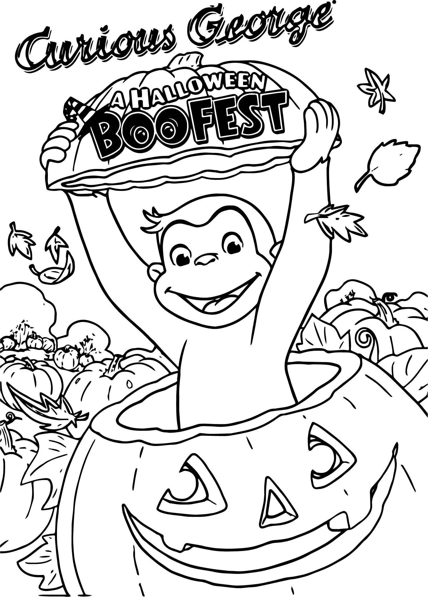Awesome Curious George A Halloween Boofest Coloring Page Curious George Coloring Pages Pumpkin Coloring Pages Fall Coloring Pages