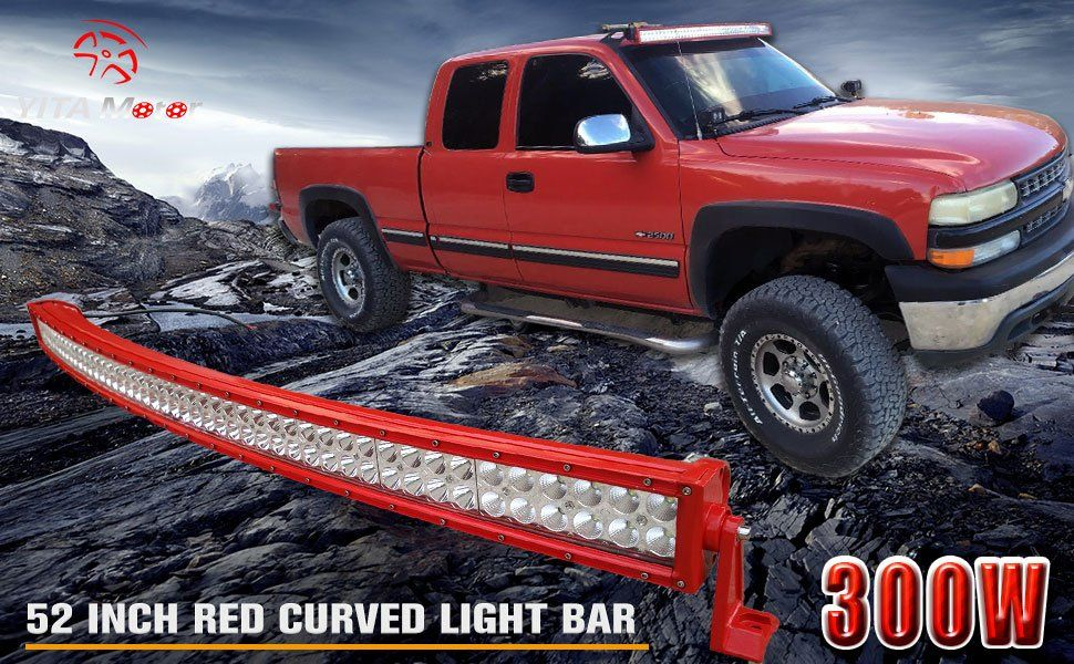 Yitamotor 52 Inch Curved Red Led Light Bar Offroad Lights With Wiring Harness For Truck Suv Atv Ute 4x4 Jeep 300w 27 000 Lumens 3 Year Warranty