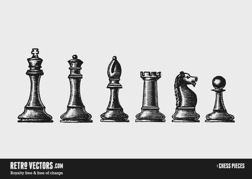 Chess Pieces Free Retro Vectors Tatoo Piezas De Ajedrez