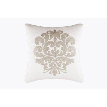 White Pillow With Gray Medallion Rice Stitch WM 18 x 18