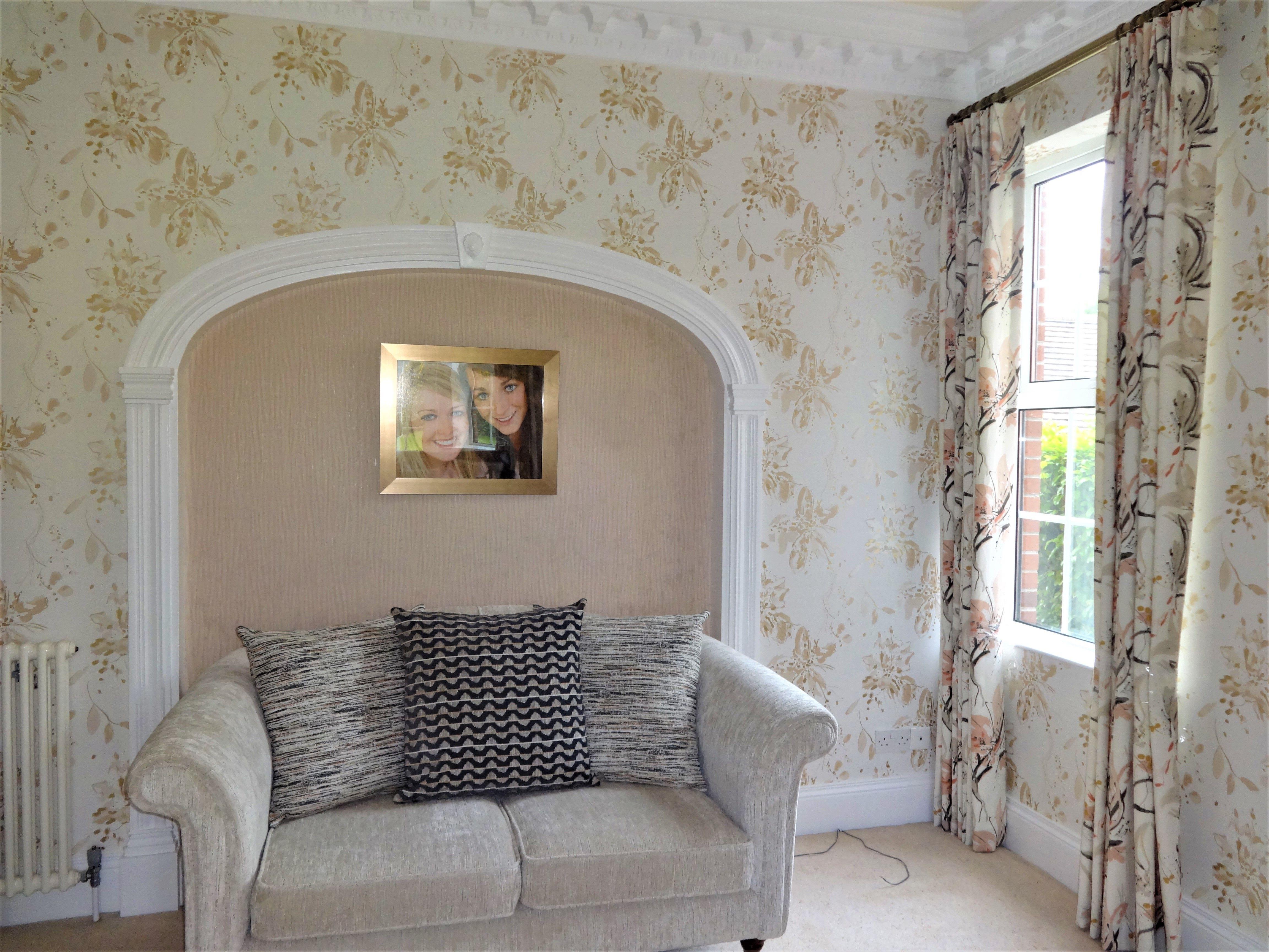 curtains and wallpaper from Villa Nova at Noctura