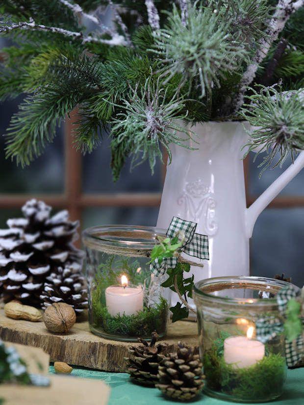 Tischdekoration Moos Weihnachten #rustikaleweihnachtentischdeko