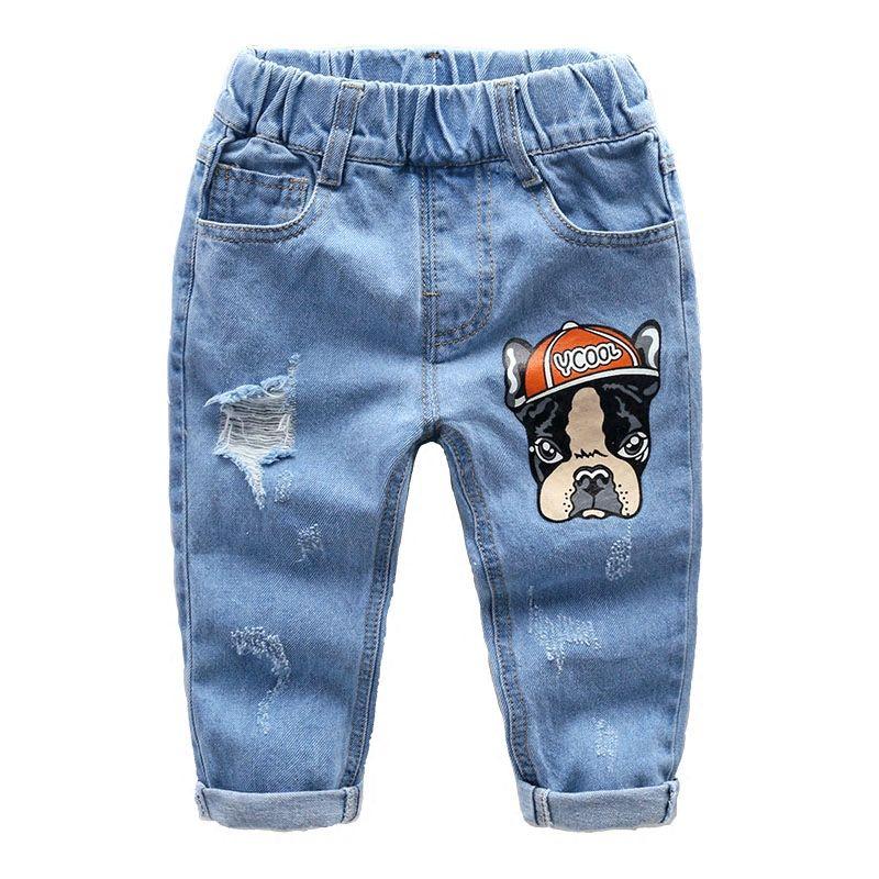 Ninos Denim Pantalones Vaqueros De 2018 Nuevos Ninos Del Resorte Del Agujero De La Historieta Cabritos De Pantalones Para Ninos Moda Para Bebes Ropa Para Ninas
