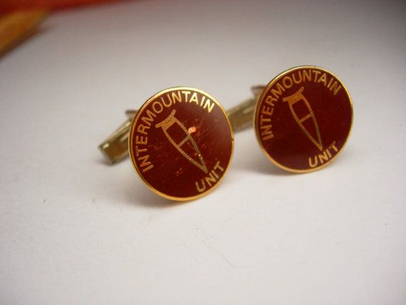 Vintage Signed Barlow  Intermountain Unit Cufflinks Crutches Deep Red Enamel Crutch EMT medical medic gift ski skier Gift