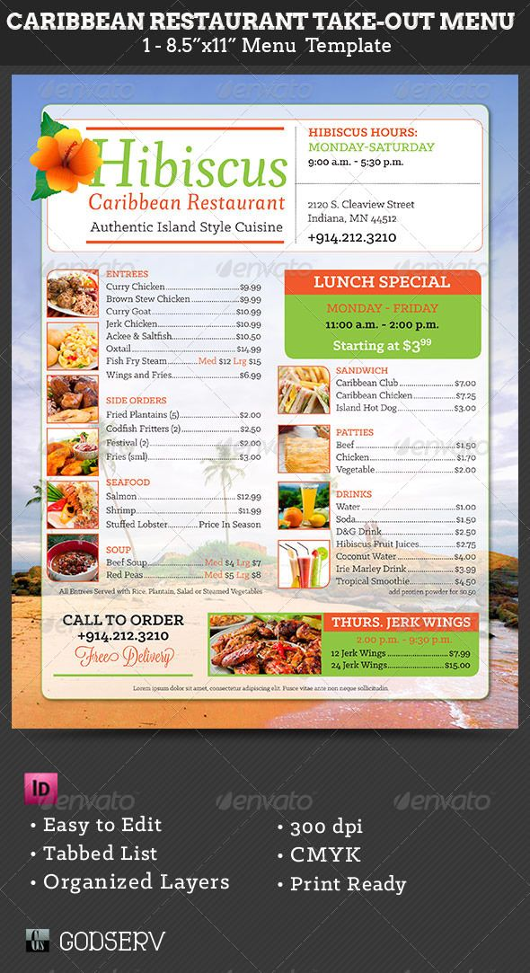 Caribbean Restaurant Take Out Menu Template