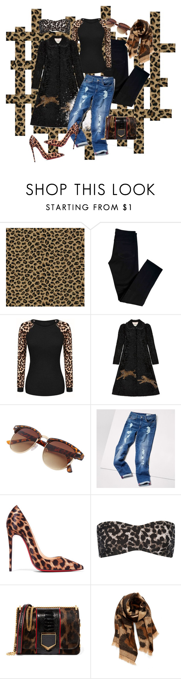 """""""Leopardly Theme With Distressed Denim"""" by farrahdyna ❤ liked on Polyvore featuring J Brand, Gucci, Tommy Hilfiger, Christian Louboutin, Norma Kamali, Jimmy Choo, BP. and distresseddenim"""