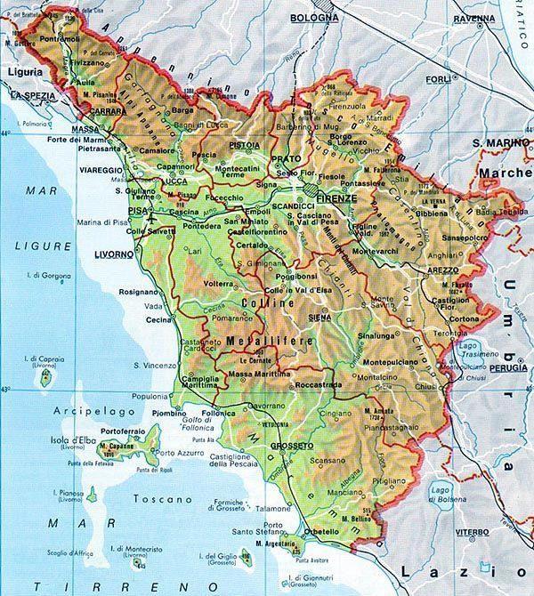 La Toscana Cartina Fisica.Mappa Della Toscana Cartina Della Toscana Mappa Toscana Mappa Dell Italia
