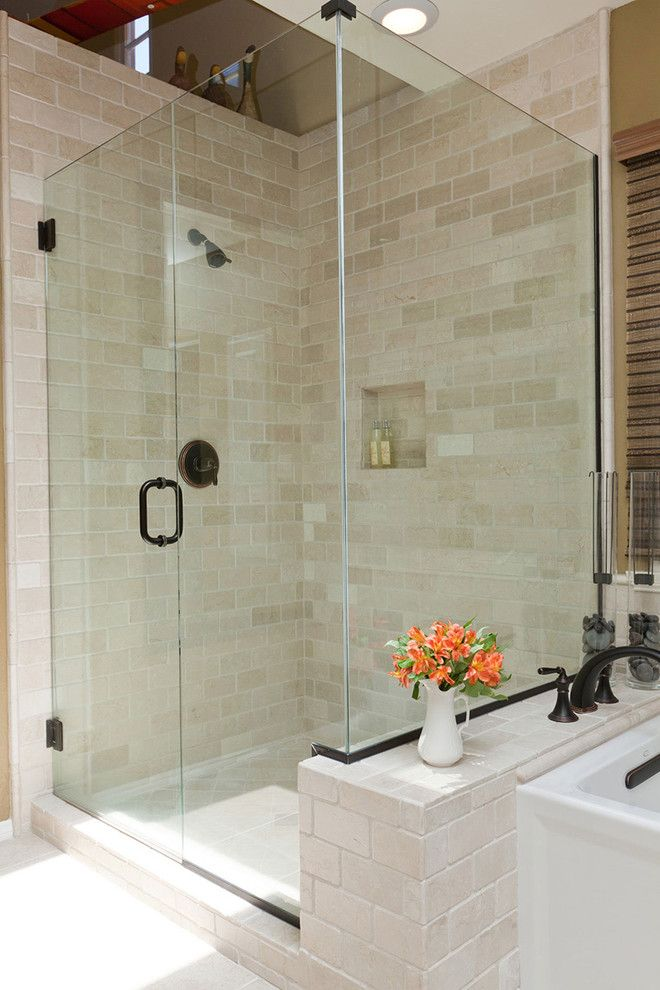 Tumbled Marble Tile Bathroom Traditional With Glass Shower Large