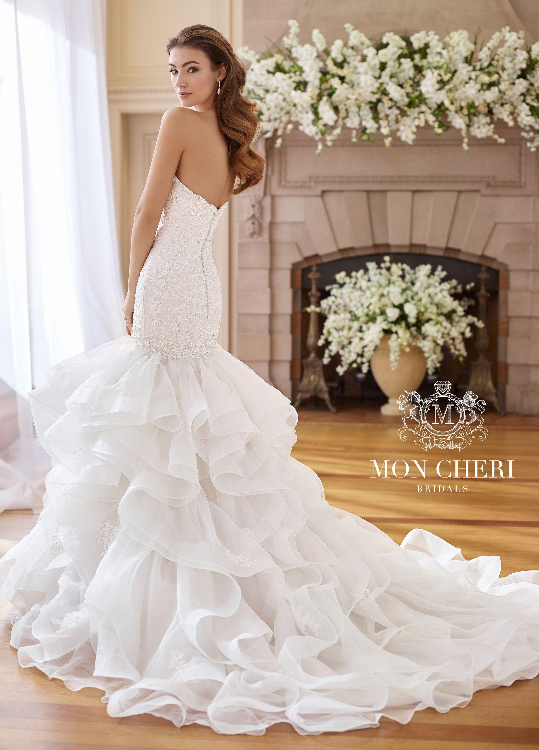 Popular Strapless Trumpet Wedding Dress with Organza Ruffle Skirt Inez