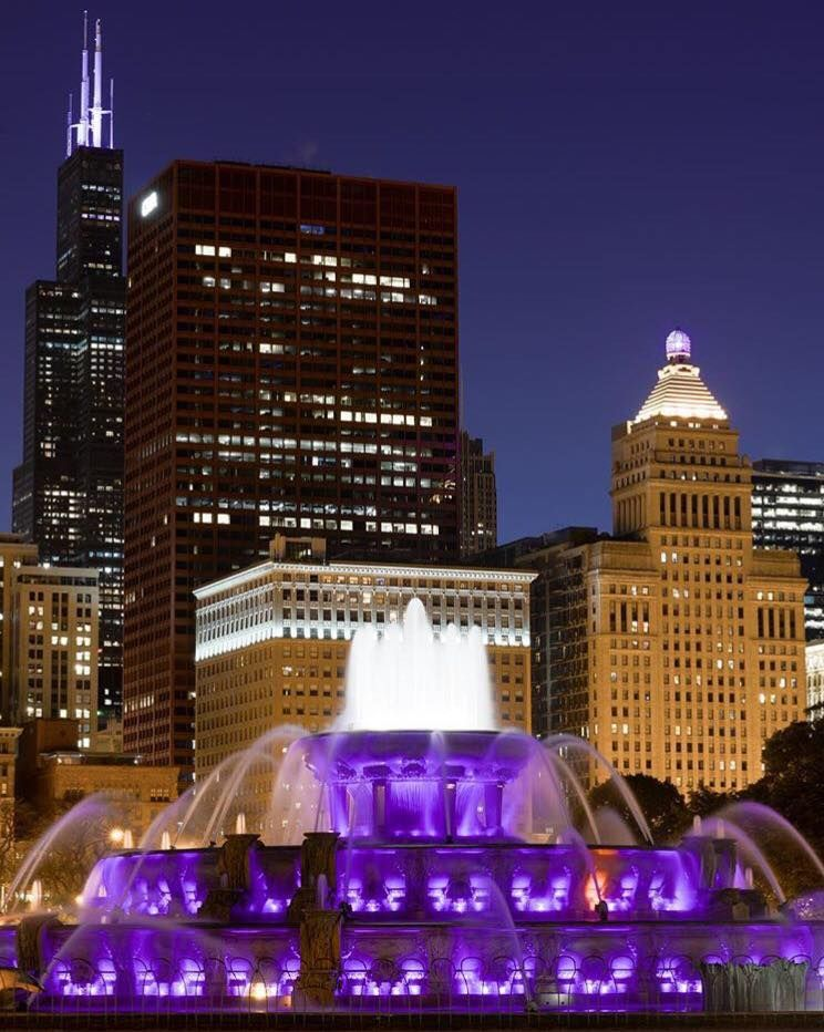 Buckingham fountain in purple downtown chicago chicago