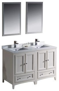 Fresca Oxford 48 Antique White Double Sink Vanity Traditional