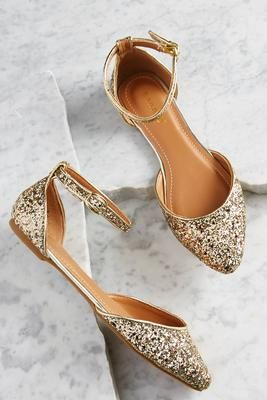 Gold glitter flat pumps - perfect for your evening reception. ankle strap glitter  flats d596bc611be3