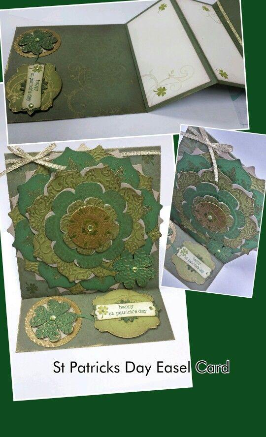 St Patricks Day Easel Card.  Stampin Up! Floral Frames dies, embossing folders, Medallion stamp