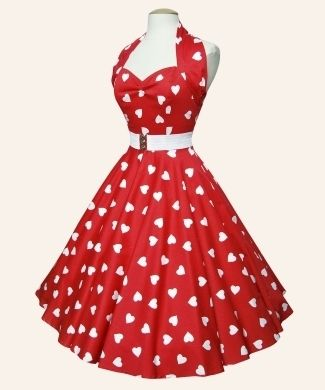 1950s Red and White Heart Print Dress