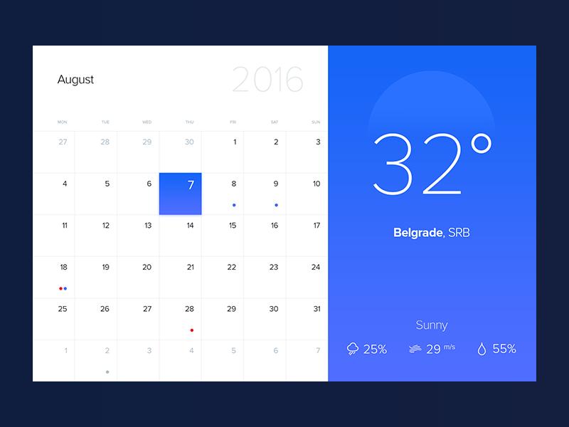Calendar / Weather Web App App, Calendar, App design