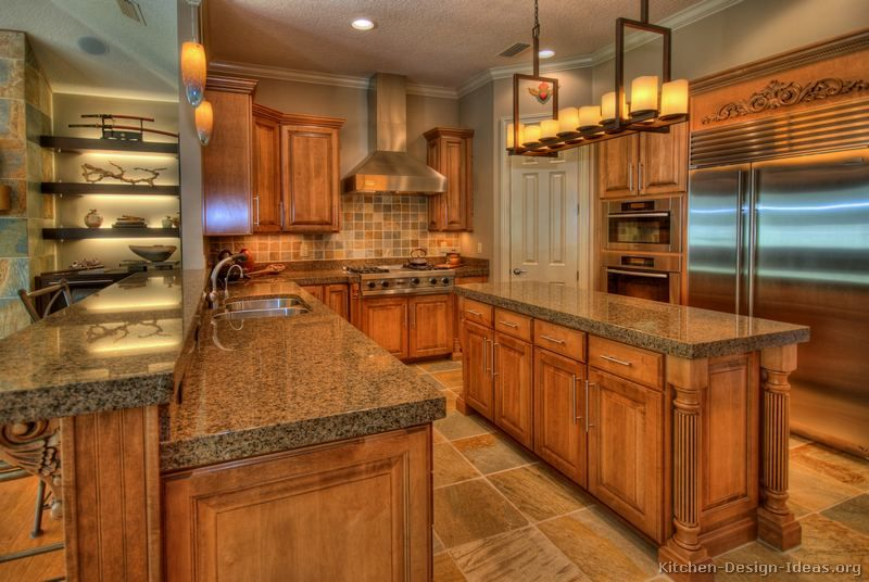 Tuscan Kitchen Cabinets Design color of cabinets. traditional medium wood-golden kitchen cabinets