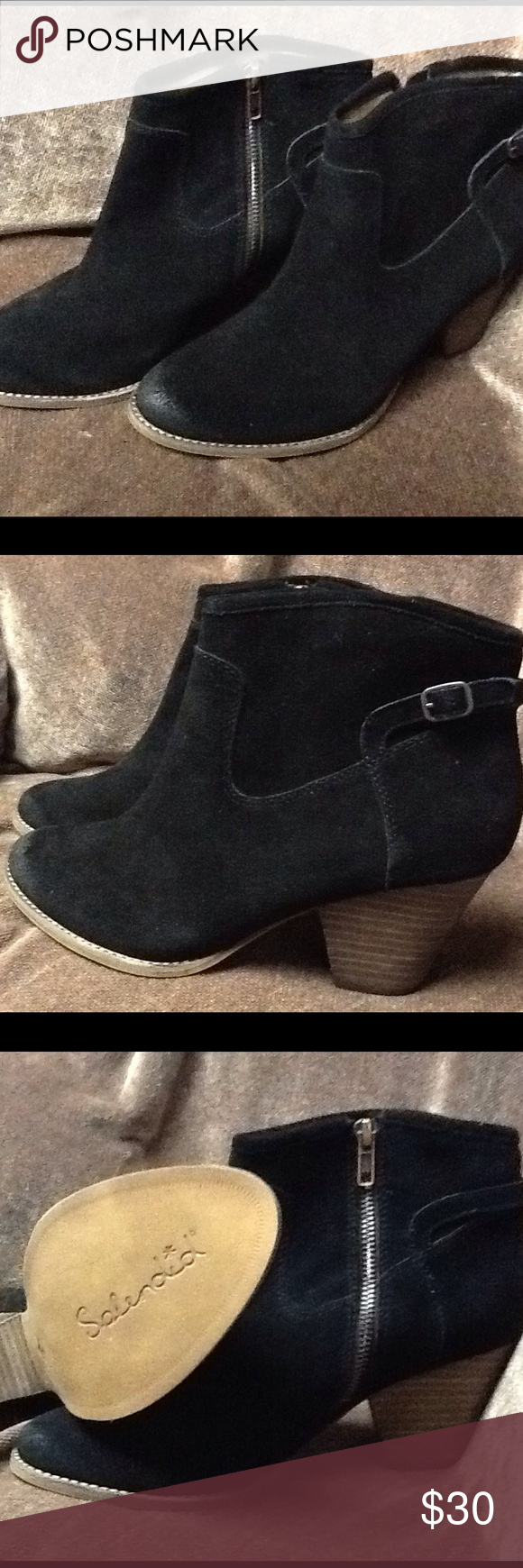 Black Suede Ankle Boots Made by Splendid with the style name of Rebekha. Brand new in original box. Splendid Shoes Ankle Boots & Booties
