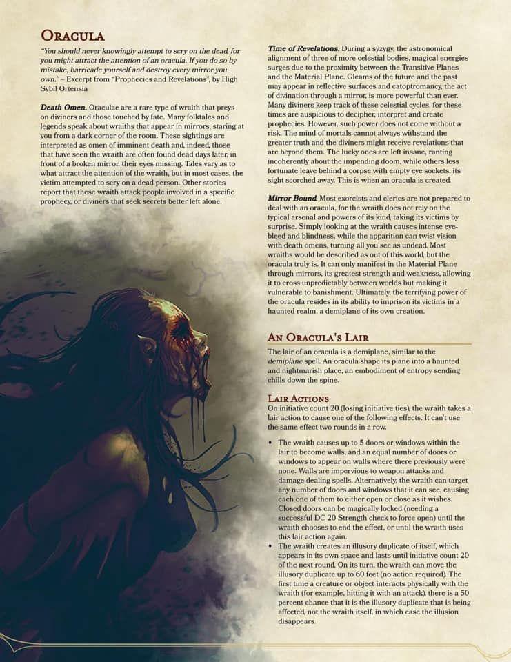 Oracula Homebrew Monster (pg 1 of 2) | Alternate story stuff