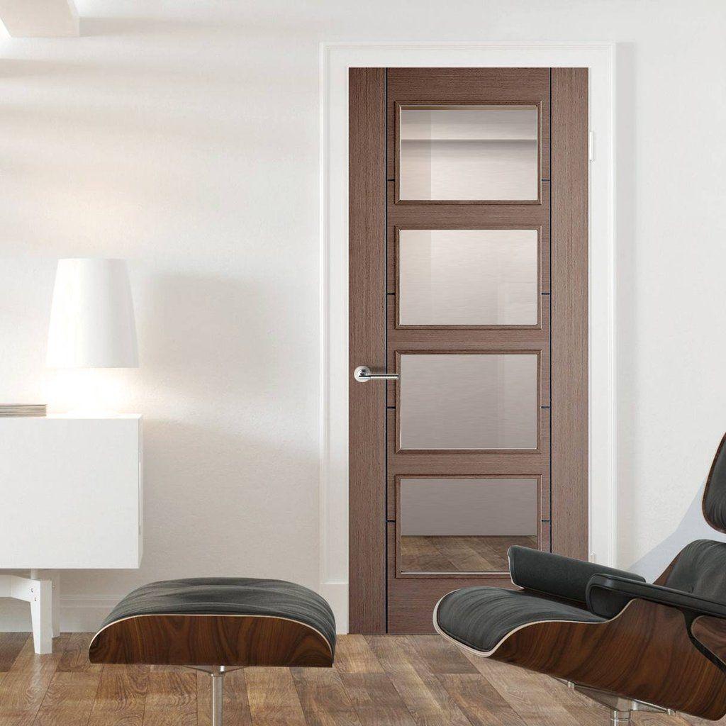 Vancouver Chocolate Grey 4L Internal Door with Clear Safety Glass. #glassdoor #internaldoor # & Vancouver Chocolate Grey 4L Internal Door with Clear Safety Glass ...