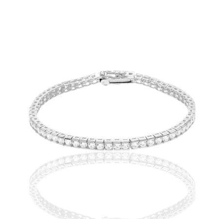 733423eebe8 Sterling Silver Cubic Zirconia Tennis Bracelet - White (Box - Women's -  Fine), Size: 7.25 Inch