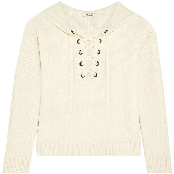 Madewell Jameson hooded lace-up waffle-knit wool sweater ($140) ❤ liked