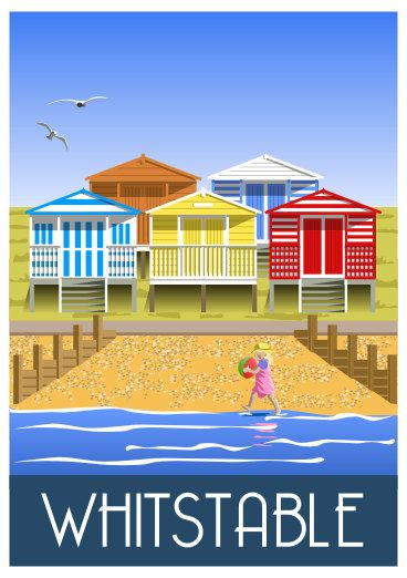 Whitstable travel poster of beach huts on whitstable beach kent coast a4 a3 a2 a1 uk only - Dessin cabine de plage ...