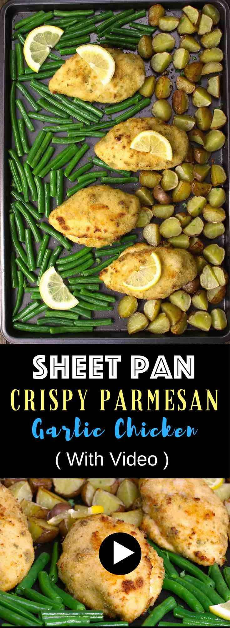 Sheet Pan Crispy Parmesan Garlic Chicken With Veggies And