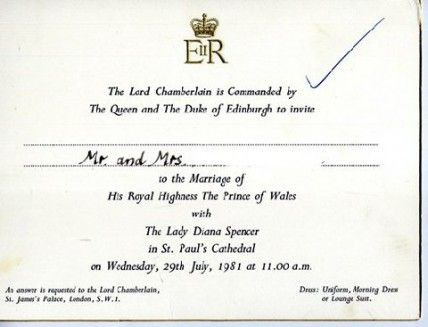 Prince Charles And Diana Wedding Program Photo Courtesy