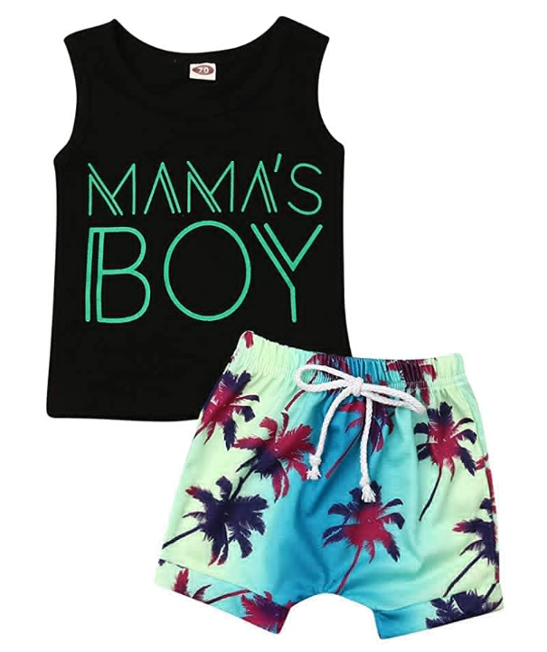 Summer Toddler Children Kids Baby Boys Dinosaur Vest+Shorts Outfit Set Clothes