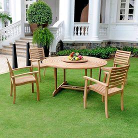 Hiteak Furniture 5 Piece Natural Blond Teak Dining Patio Dining