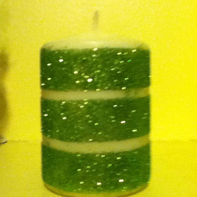 Glitter candle using double sided tape.