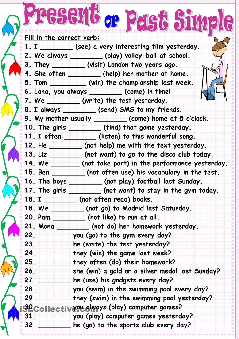Present Or Past Simple Past Simple Pinterest English