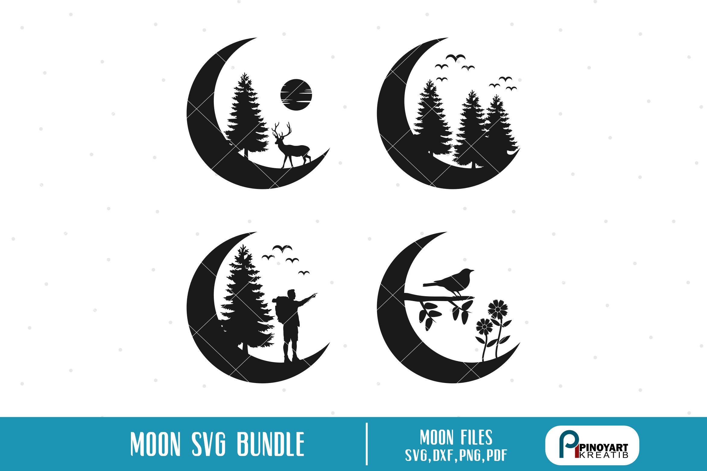Moon Silhouette Bundle Graphic By Pinoyartkreatib Creative Fabrica Moon Silhouette Mountain Svg Silhouette Svg