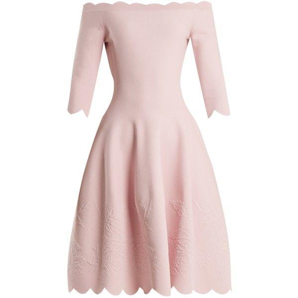 2a62c4b513a4d8 Alexander McQueen Off-the-shoulder matelassé dress (31.272.165 IDR) ❤ liked  on Polyvore featuring dresses, scallop, crop, flowers, pink dress, light  pink, ...