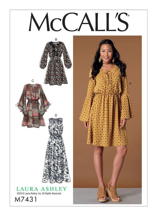 McCall\'s 7431 Misses\' Elastic-Waist Dresses with Sleeve Variations ...