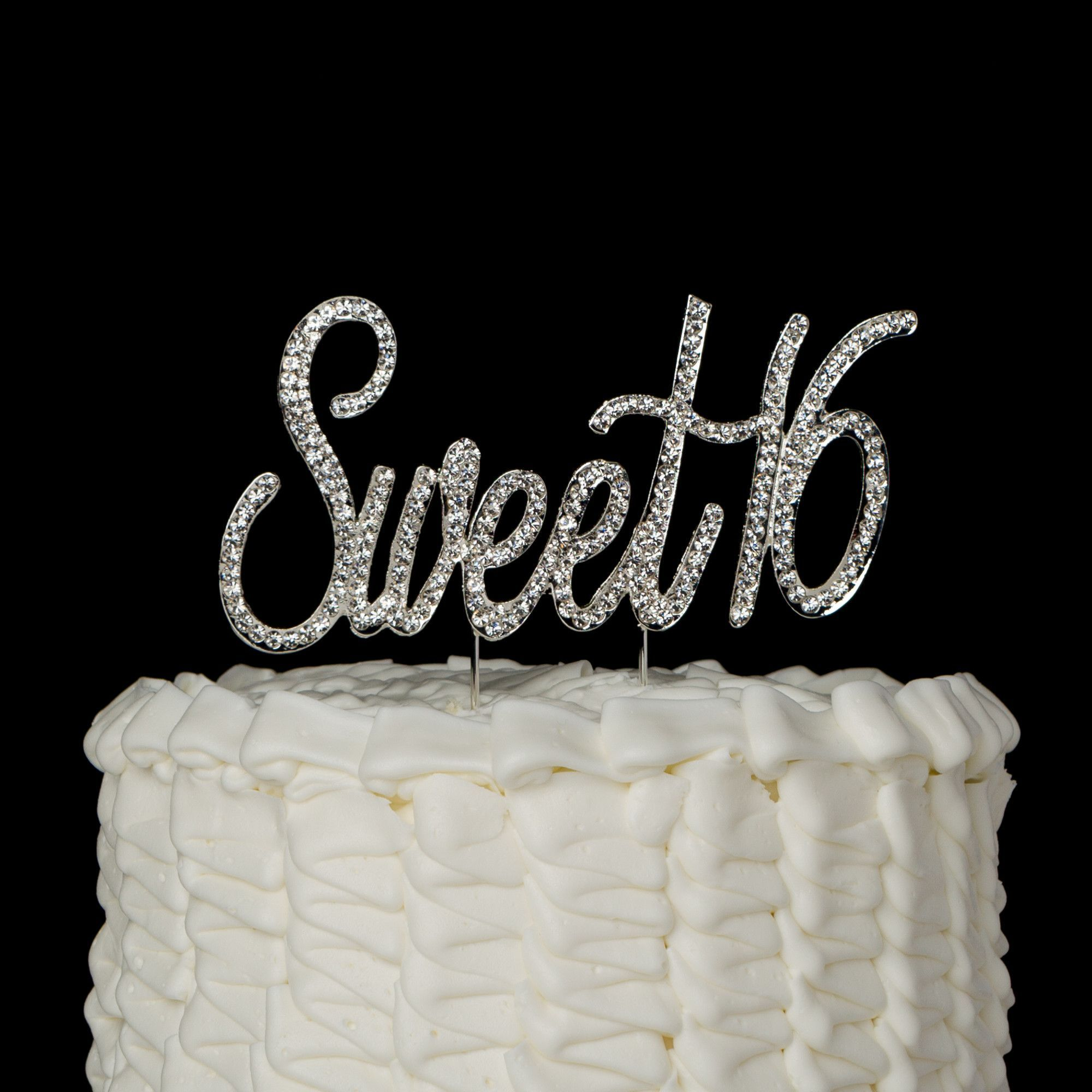 dfe8eaf23e98 Sweet Sixteen 16 Birthday Number Cake Topper - Silver Crystal Rhinestone  16th Decoration Get the Best for the Best  With such a momentous occasion