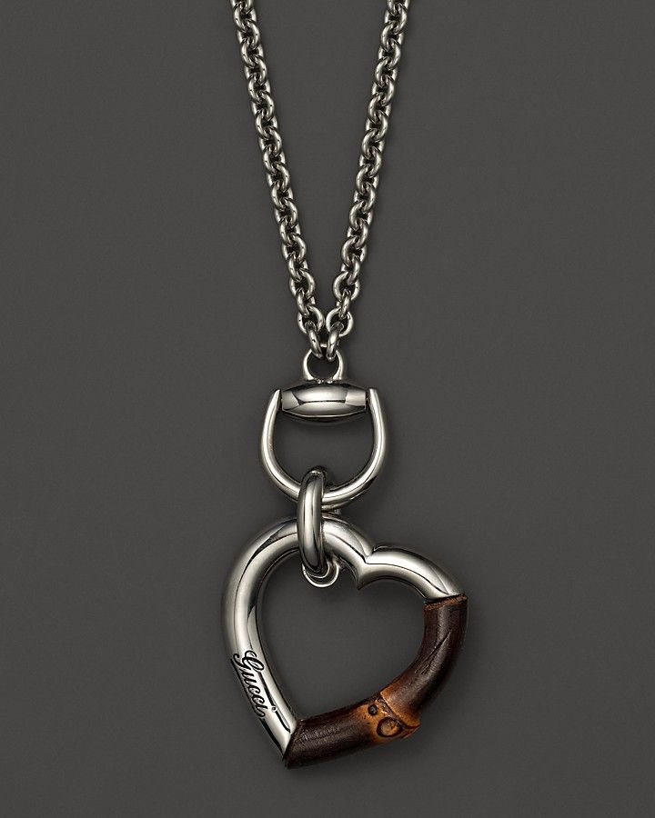 5afd3b83d Gucci Sterling Silver And Bamboo Heart Necklace, 31.5