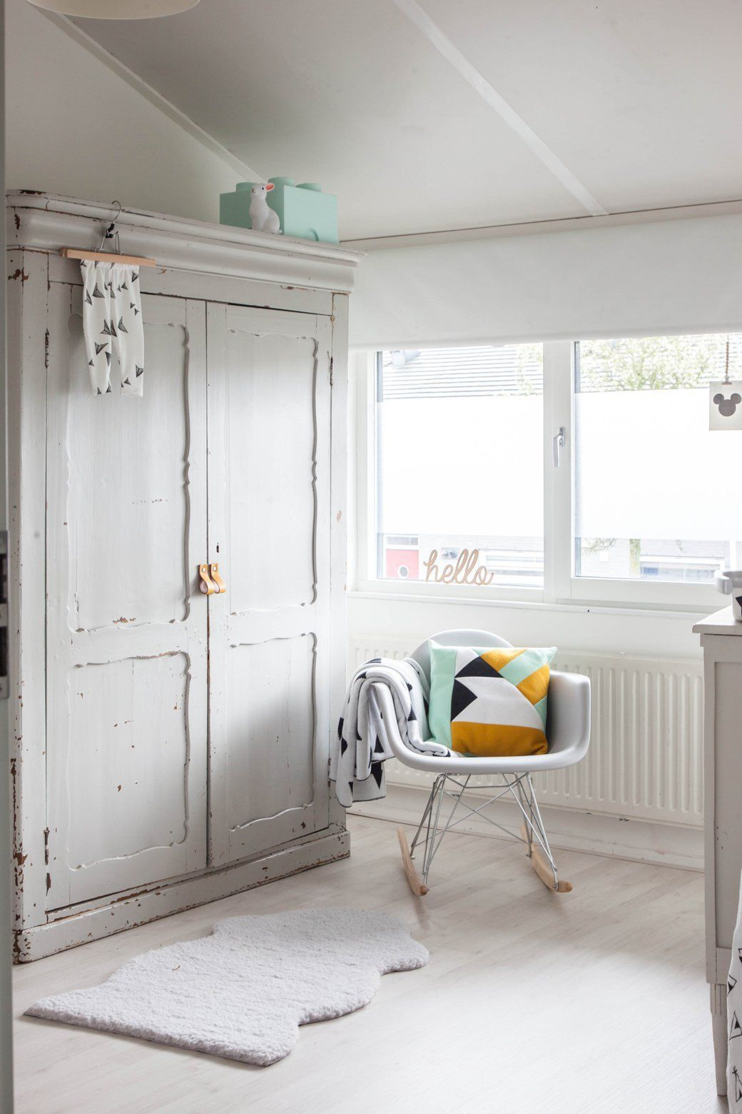 Modern neutral nursery decor. Love the contemporary pastel and ...