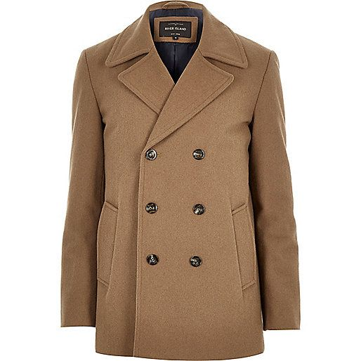 Brown smart wool-blend peacoat - coats - coats / jackets - men ...