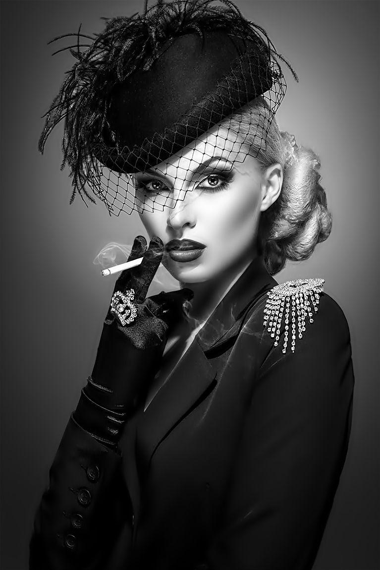 Veil Hat Femme Fatale Lady Woman Girl Fashion Glamour Style Luxury Chic B W Black