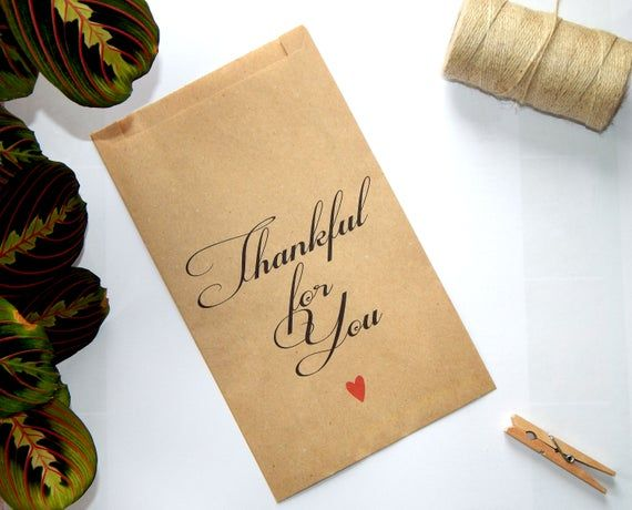 Thankful for You Favor Bags, Thanksgiving Dinner or Wedding Favor, Candy Bar or Treat Brown Kraft Bag, Candy Buffet Bags, Take Home Favor