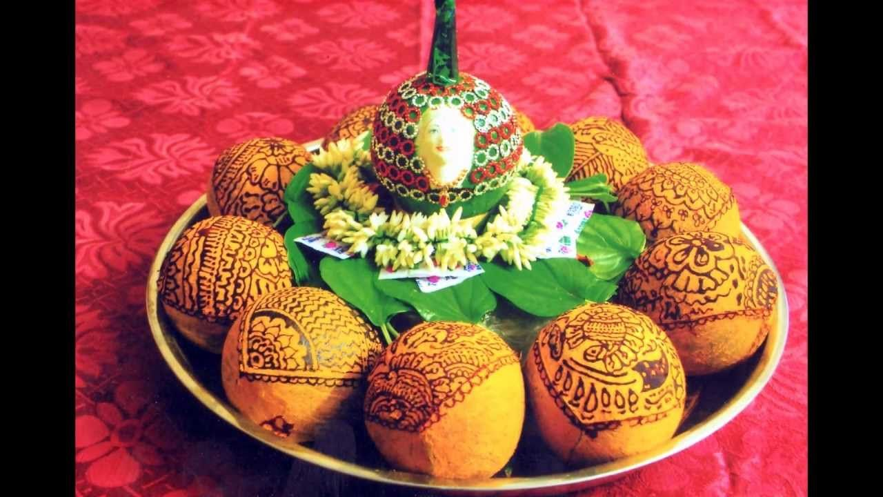 Indian Wedding Tray Decoration Coconut Decoration With Mehndi Design  Plate Decoration