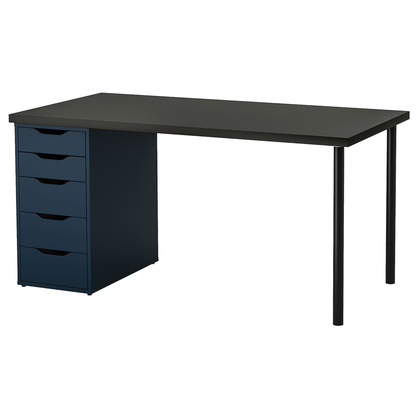 Linnmon Alex Table Black Brown Blue 59x29 1 2 Shop Online Or In Store Ikea Ikea Black And Brown Grey Desk
