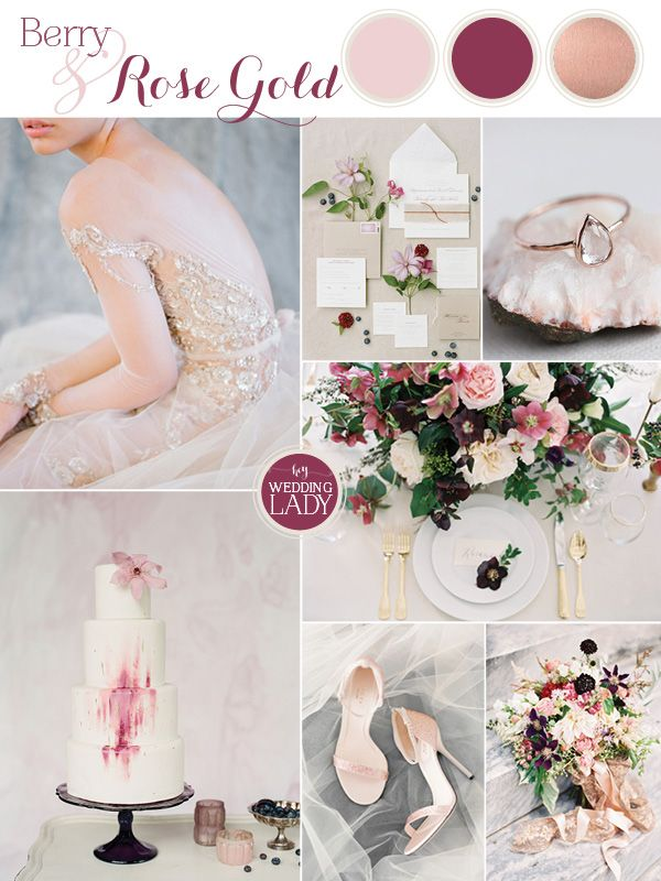 dc4a4aa0b9de Sparkling Berry and Rose Gold Glam Wedding Inspiration