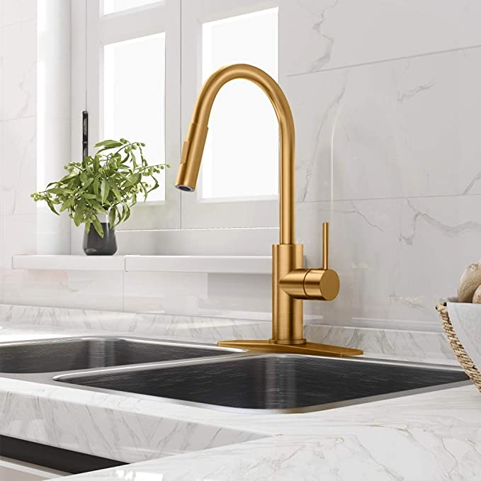 Gold Kitchen Faucet With Pull Down Sprayer Kitchen Faucet Sink Faucet With Pull Out Sprayer Single Ho Gold Kitchen Faucet Copper Kitchen Faucets Gold Kitchen