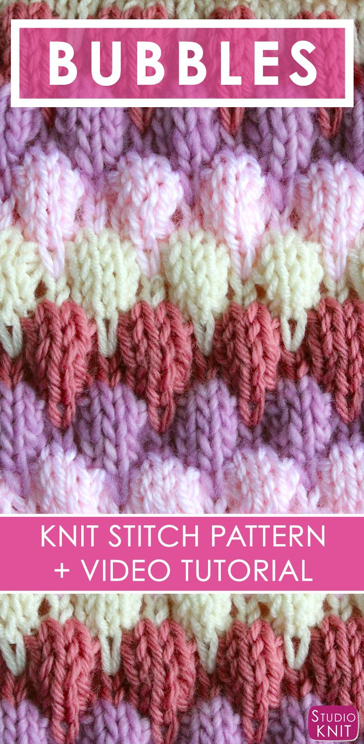 Knitting up the Bubble Stitch Pattern by | Tejido, Puntadas y Bicolor